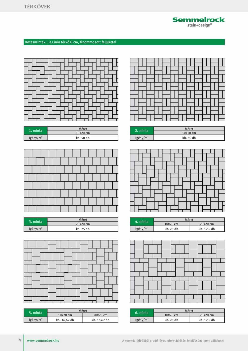 Semmelrock La Linia térkő lerakási minta