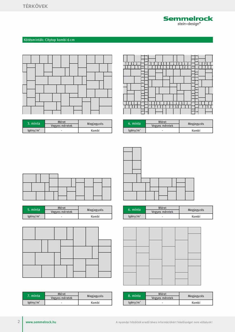 Semmelrock Citytop kombi térkő lerakási minták